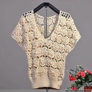 Китайская роза - пуловер крючком