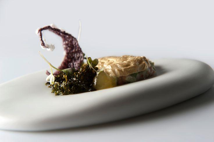 Flan van Tom kha kai, zoetzure groenten | emulsie van groene curry