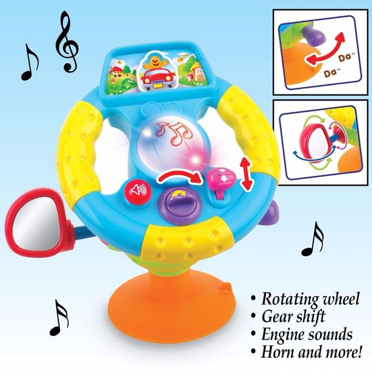 Interactive Steering Wheel Baby Toy Rotating Mirror Gear Shift and Sound Effects #SteeringWheel #JuniorDriver #KidsPlay #Toys #Kids #Interactive #Melodies #Music #Steering #PlayPretend #BabyDriver #Lights