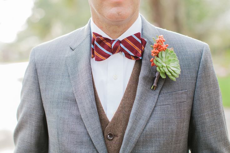 2014 Wedding Trends | Styled Grooms | We adore this succulent boutonniere