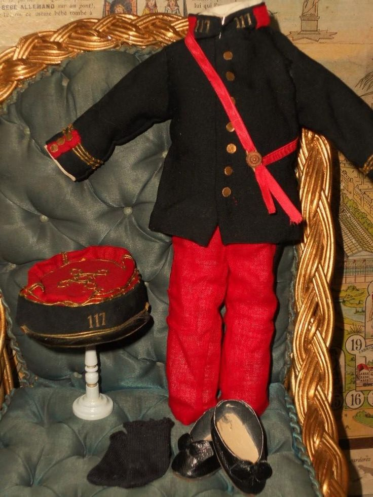 ~~~ Beautiful Small Bebe Military Costume from 19th. century ~~~