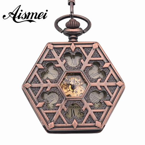 Antique red bronze Hexagonal automatic pendant fob watch retro pocket watch keychain vintage mechanical pocket watch with Chain