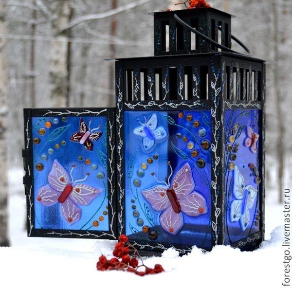 Купить Волшебный фонарь. Фьюзинг, роспись. - тёмно-синий, фонарь, магия, загадка, Фьюзинг, бабочка