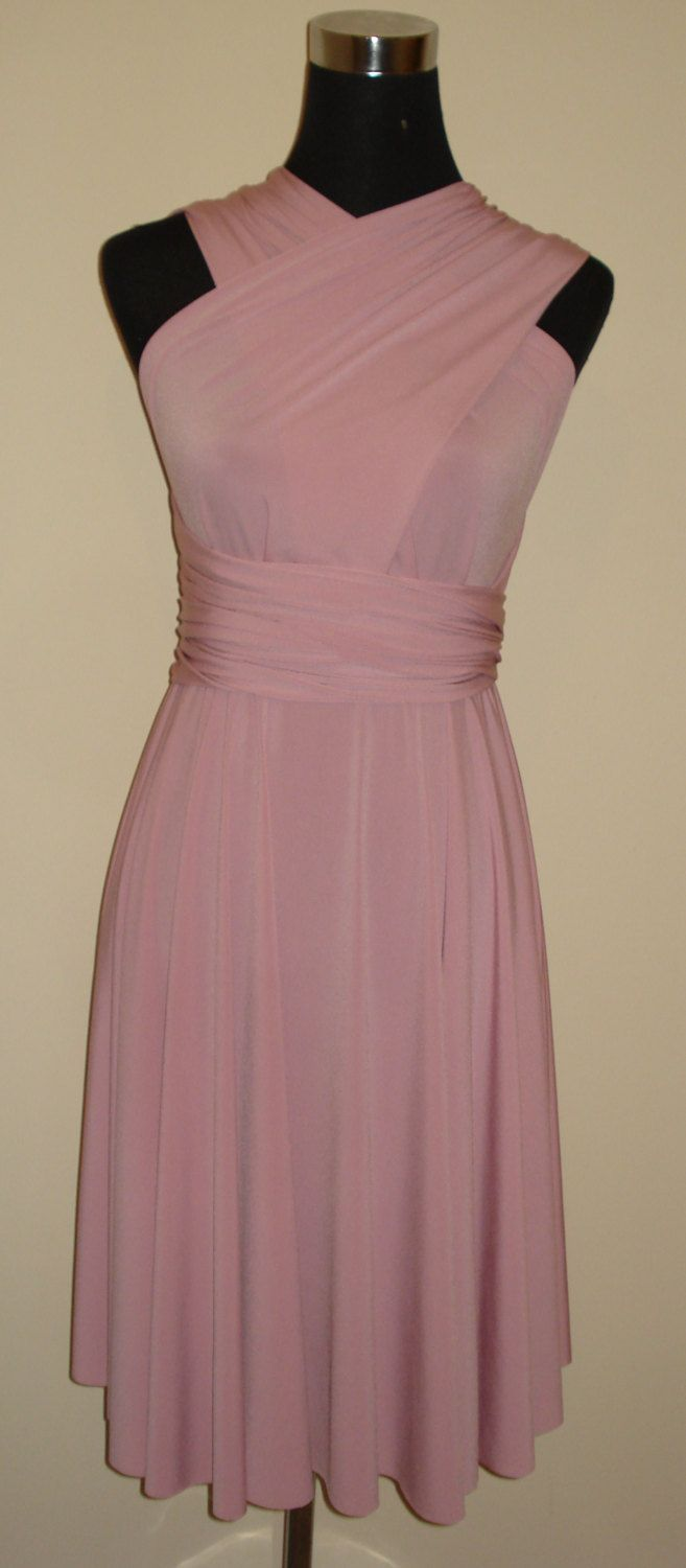 Dusky pink soft touch knee length infinity multiway bridesmaid formal convertible dress by stitchawayrose on Etsy