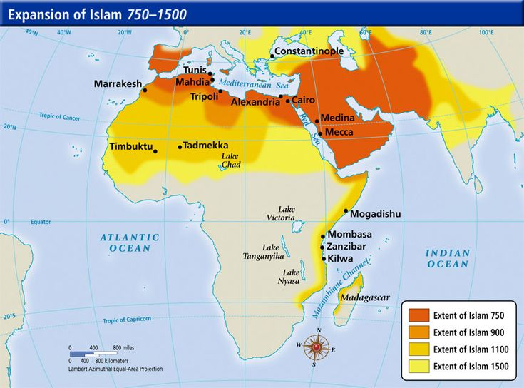 The spread of the Islamic religion in Africa from 750-1500