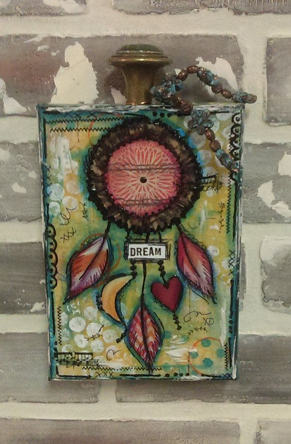 Whimsical Mixed Media Dream Catcher Canvas...Mixed Media Art...Mixed Media Canvas...Dream Catcher Art..Fun and Whimsical...Turquoise