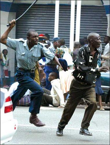 Zimbabwean police beats fleeing protester