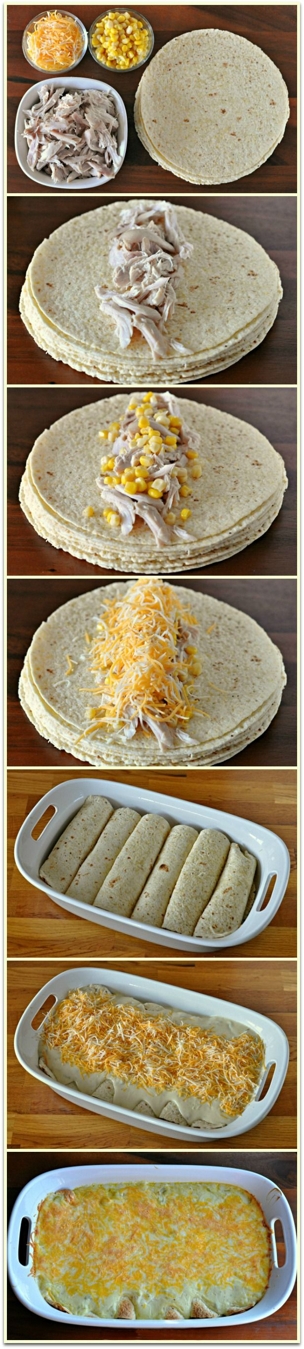 white chicken enchilada recipe..but will use flour tortillas instead of corn.