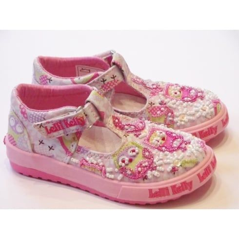 Lelli Kelly Owl LK9047 Girls Pink Canvas T-Bar Shoes