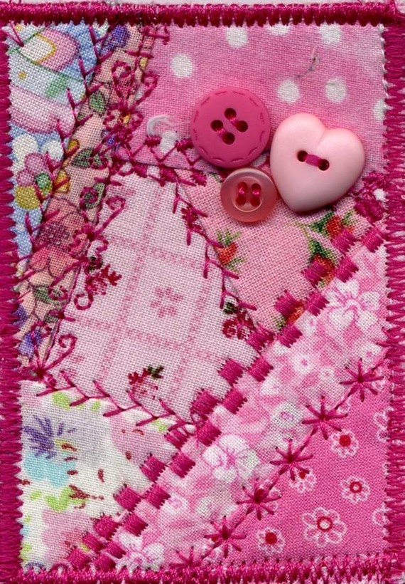 Pink mini crazy quilt ACEO by purplepaint on Etsy, $7.00
