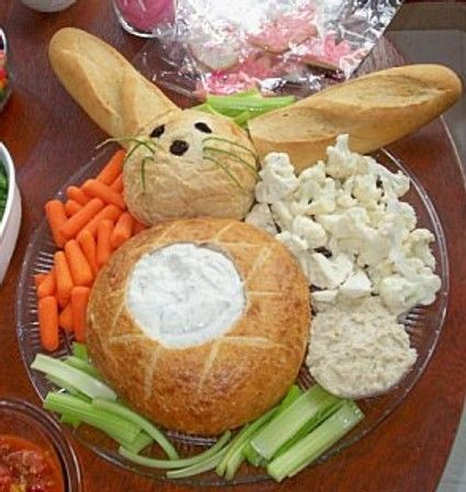 Bread and dip anyone? Looks so yummy!Cute snack, for Easter, Id put cheese and cucumbers and tomatoes too.