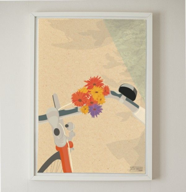 The bike ride, a poster by Carolina Grönholm! #nordicdesigncollective #carolinagronholm #cykelturen #cykel #bike #bicycle #retro #flower #illustration #frame #reproduction #drawing #scetch #handlebar #bell #orange #purple #red #road #country #counrtyside #interiordesign #homedecor #art #nordicdesign