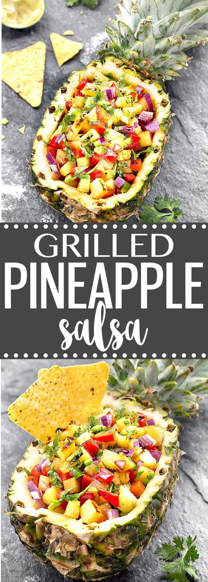 Tropical Grilled Pineapple Salsa - sweet, savory, crunchy, spicy and fresh. It's perfect with tortilla chips, tacos, grilled chicken, fish, or shrimp. via @easyasapplepie (Mexican Chicken Salsa)