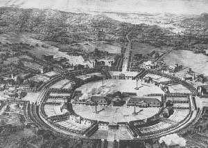 Den perfekte byplan? Ludvig 16's arkitekt Claude Ledoux planlagde i 1770-årene i detaljer, hvordan en industriby baseret på saltværker kunne reguleres med arbejderboliger, rekreationsområder, sygehuse, kontorer og fabrikker. (FN)
