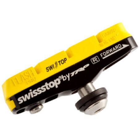 Swissstop Flash Pro Yellow Carbon Rim Brake Yellow King Compound High performance compound for carbon wheels. Excellent stopping power wet and dry with superior modulation and low pad wear rates. http://www.MightGet.com/january-2017-11/swissstop-flash-pro-yellow-carbon-rim-brake.asp