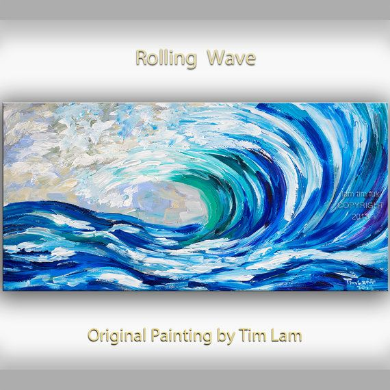 Sea art Wave painting Original abstract oil painting blue sea rolling white wave on gallery wrap canvas Ready to hang by tim Lam 48x24 on Etsy, $369.00