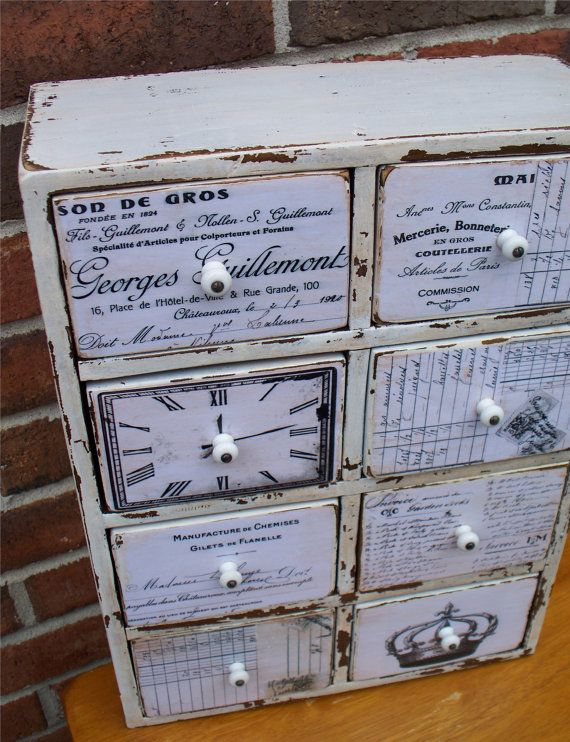 DECOUPAGE an old CABINET   Vintage Ephemera Cabinet Refinished by RiverSongMtP on Etsy