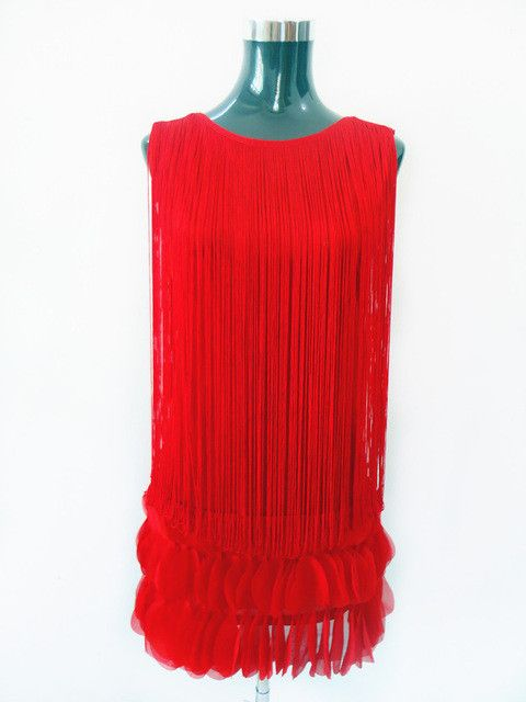 Summer Fringed Art Deco 1920s Style Flapper Dress Sexy Solid Color Mini Party Dress With Appplique Ruffle 605
