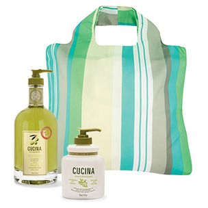The Eco-Kitchen Gift Set - Envirosax Oasis Bag, Cucina Coriander and Olive Tree Hand Wash and Hand Cream. Eco-friendly. Complimentary gift wrap.