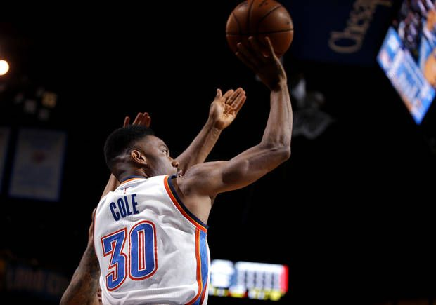 Oklahoma City's Norris Cole (30) shoots a basket during an NBA basketball game between the Oklahoma City Thunder and the Portland Trail Blazers at Chesapeake Energy Arena in Oklahoma City, Tuesday, March 7, 2017. Photo by Bryan Terry, The Oklahoman