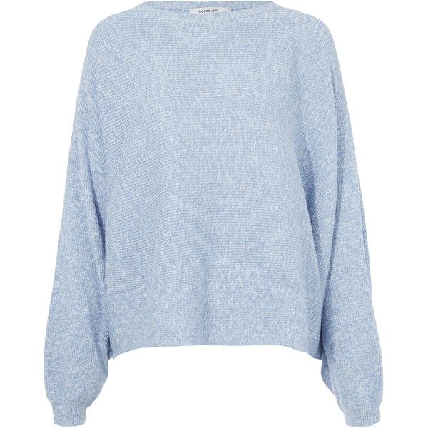 Rodebjer Light Blue Oversized Cotton Knitted Dalia Jumper ($245) ❤ liked on Polyvore featuring tops, sweaters, jumpers, shirts, shiny shirt, light blue sweater, blue jumper, long sleeve shirts and blue long sleeve shirt