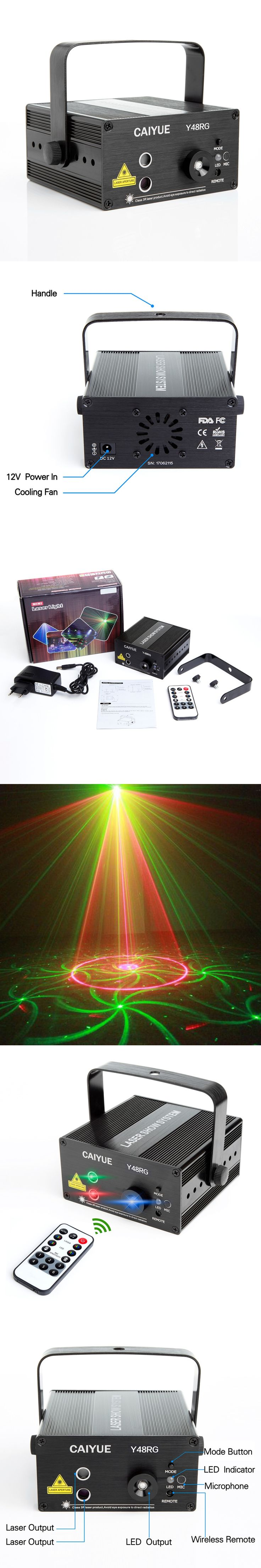 Laser Stage Lighting 48 Patterns RG Club light Red Green blue LED DJ Home Party Professional Projector Disco dance floor lamp