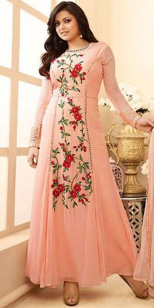 Madhubala Georgette Peach Anarkali Suit With Dupatta.