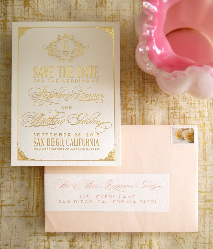 wedding shower invitations omaha%0A Gold blush and White Classic Save the Date  modern ornate design  by Wouldn u