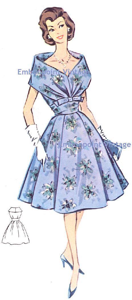 Plus Size (or any size) Vintage 1950s Womens Cocktail Dress Pattern - PDF - Pattern No 15: Kathleen. $9.00, via Etsy.