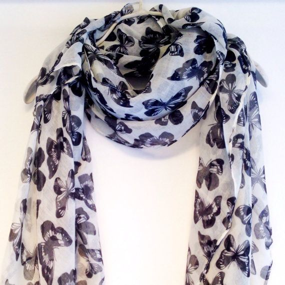 This Black Butterfly Summer Scarf Spring Scarf will look great with any outfit  WANT WANT WANT