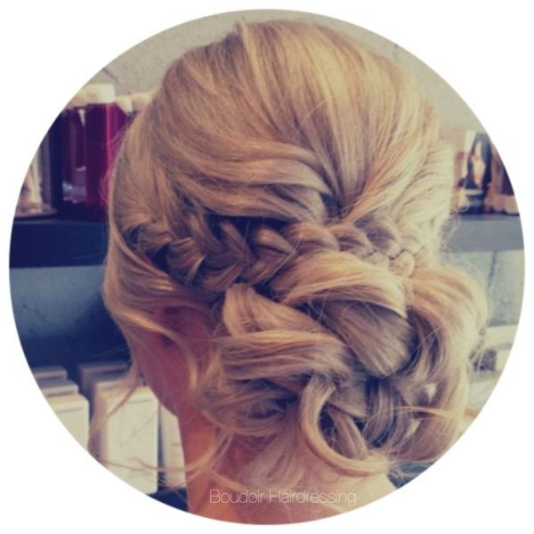 | Braid | wedding hair | braided hairstyle | low bun | relaxed hair up | soft waves | blonde hair | boho bride | boho wedding | boudoir hairdressing | Www.facebook.com/officialboudoir by summer