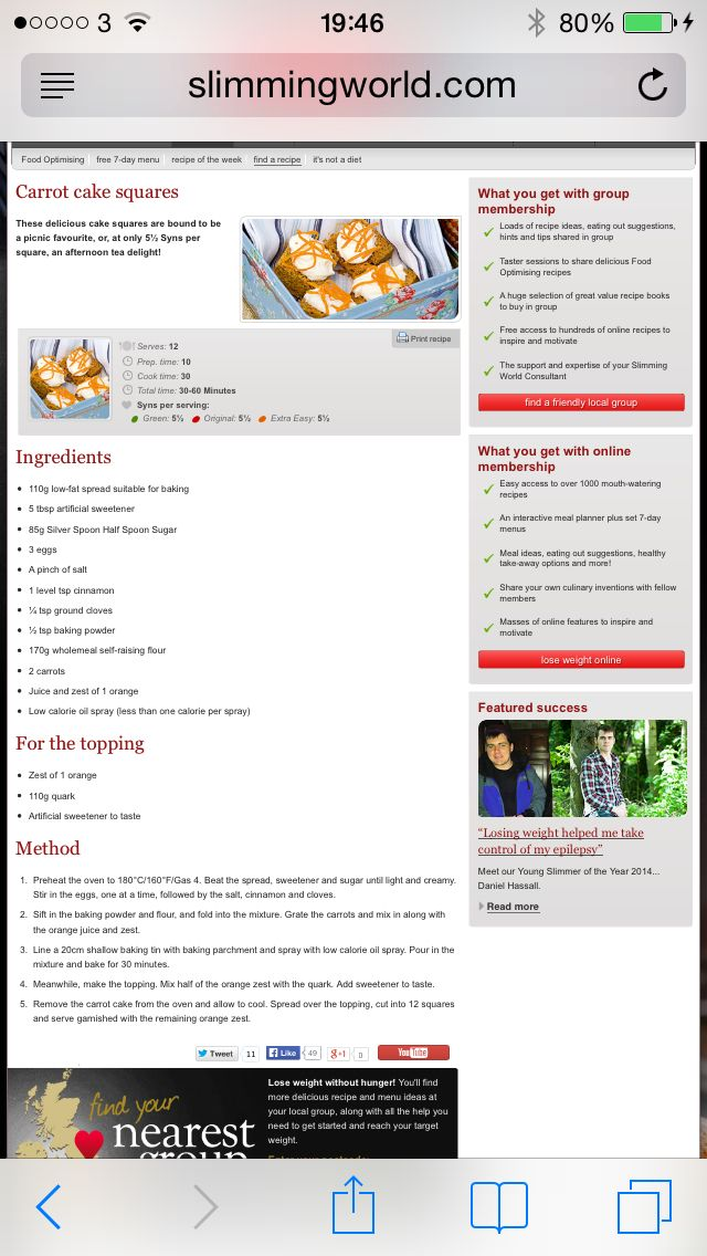 Carrot cake from slimming world website