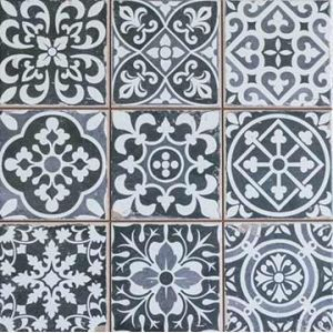 These ceramic floor tiles from SomerTile feature an assembly of gray and white complementary patterns to bring a Spanish-inspired sophistication to your bathroom, kitchen or restaurant. Cover your flo