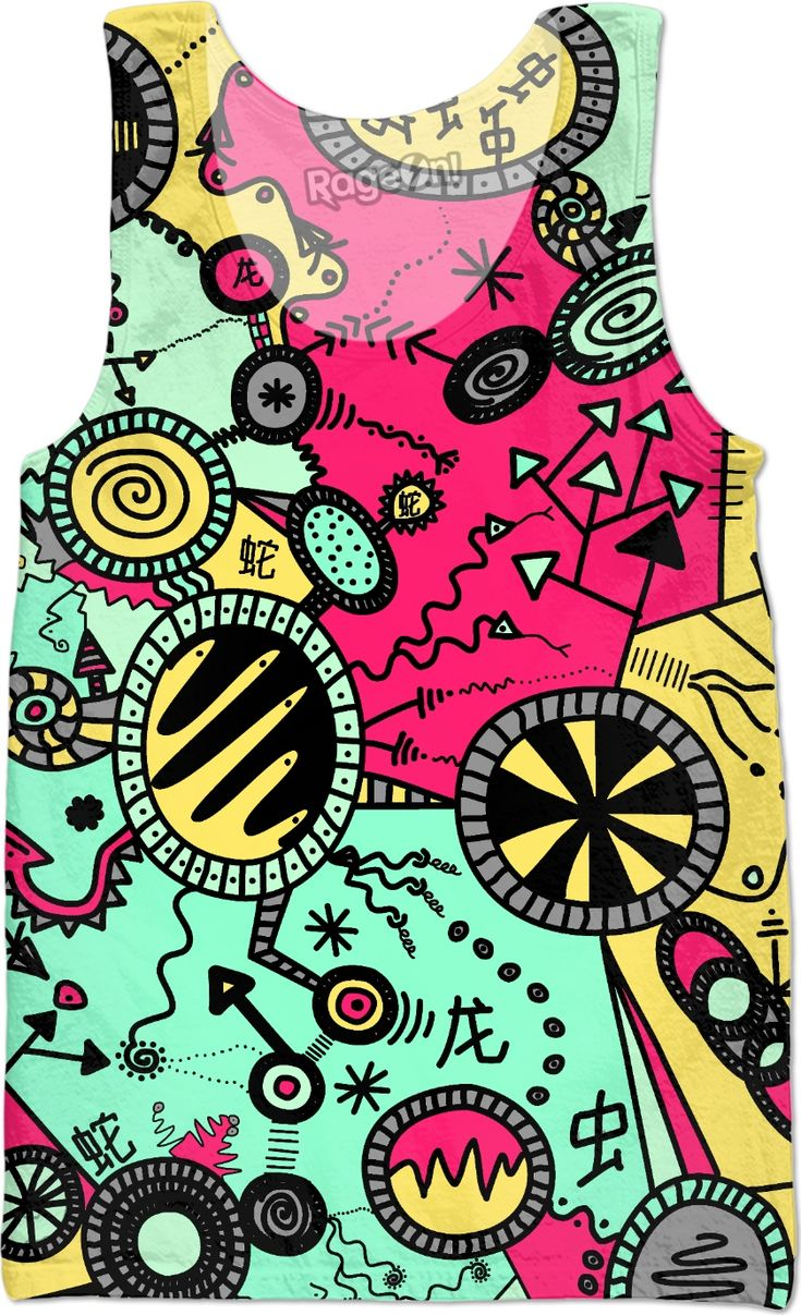 A bright cartoon illustration. pink, green, yellow, arrows, chinese, worms, dragons, swirls