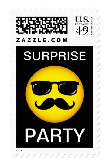 "Surprise party stamp, yellow mustache smiley postage Fun postage stamps featuring an incognito, yellow smiley face in black mustache and sunglasses. Black background and customizable, white text ""Surprise party"". Great postage for surprise birthday parties."