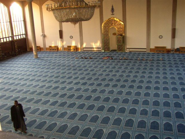 Bespoke carpet installation at Regents Park Mosque.