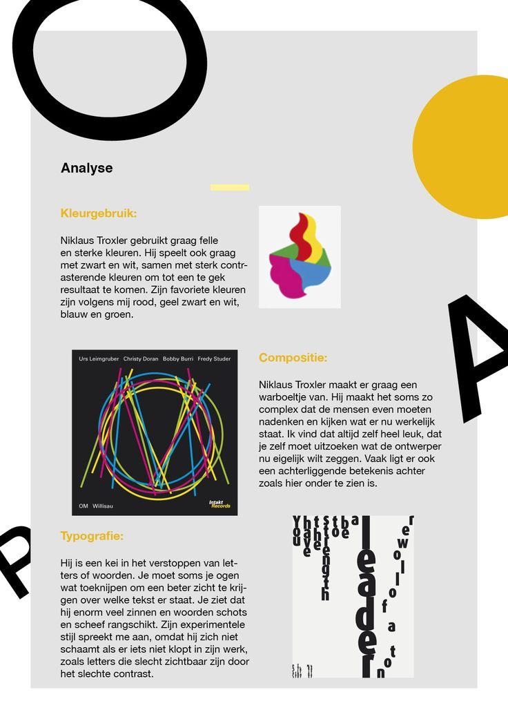 Niklaus Troxler Deel5 - Analyse: Binnen welke stijl kan de ontwerper geplaatst worden? Figuratief. Aangezien hij vaak met hele simpele figuren en symbolen werkt. Is hij eerder gericht op commercieel of persoonlijk werk? Hij is eerder gericht op commercieel werk aangezien zijn werken vaak worden gepubliceerd voor posters of covers, of kaarten, etc.