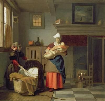 Pieter de hooch kindermeisje met baby in een interieur for De jong interieur