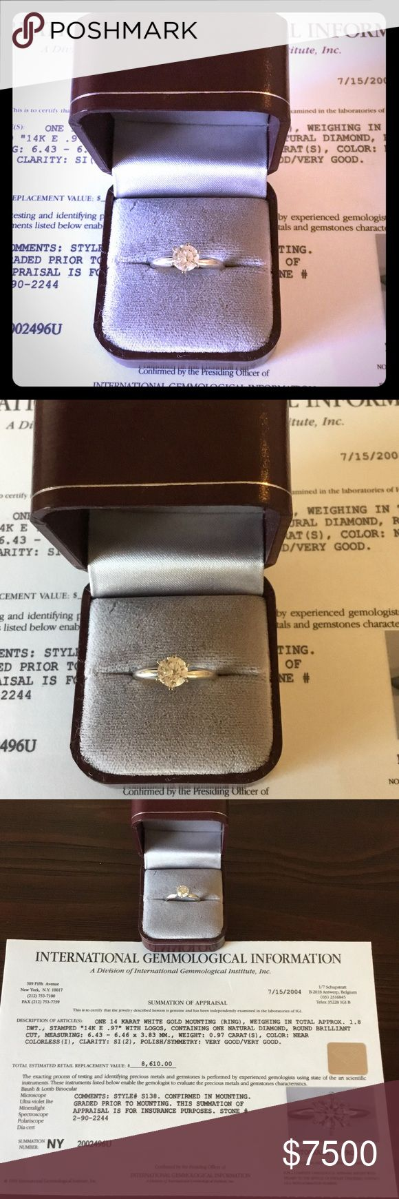 """One 14 Karat White Gold Natural Mounting Diamond! My Wedding Ring Size 7. Natural Diamond, Round Brilliant Colorless (I )Clarity: SI (2) Have International Gemmological information.Also Have 1CTTW Wrap For This Ring.Number And Type Of Stones For This Wrap """"4"""" Diamonds Regular Price Was $2800 And Now Price $ 2500 PRESTIGE JEWELRY Jewelry Rings"""
