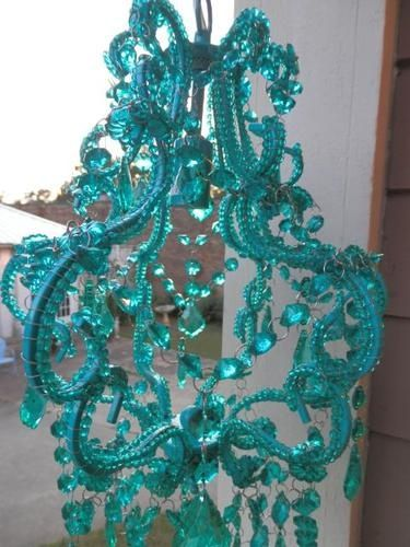 SHABBY COTTAGE CHIC BEADED CRYSTAL TEAL CHANDELIER