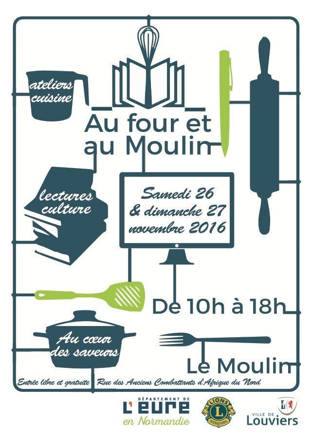 Au Four et au Moulin, premier salon du livre et de la cuisine à Louviers.