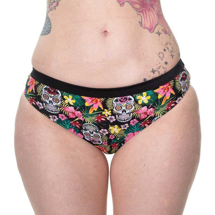 Banned Rare Hearts bikini broek met schedels en bloemen print multicol