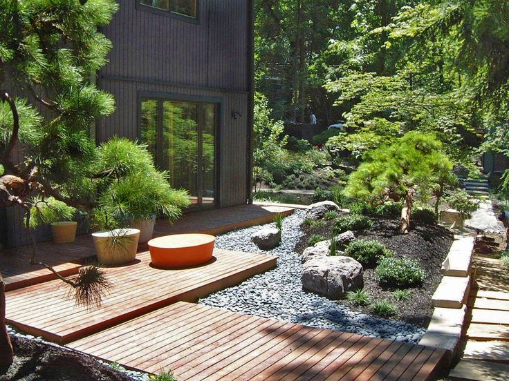 Japanese Garden. Side Entrance Landscape Design And Hardscape By