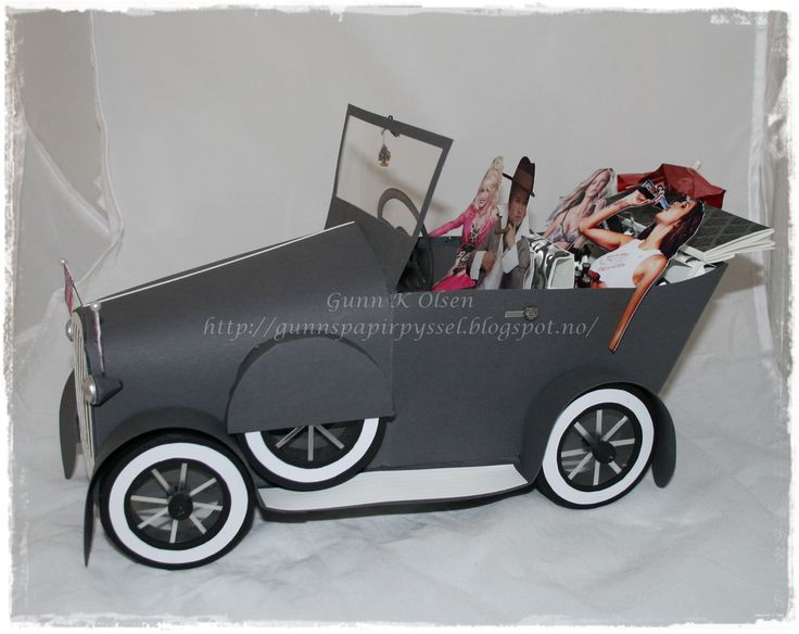 Car - Bil, old car, gammel bil, papirbretting, paperfolding, scrapbooking, scrapbook, 3D, konfirmasjon