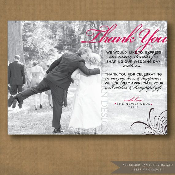 Elegant Wedding Thank You Card PRINTABLE Thankyou