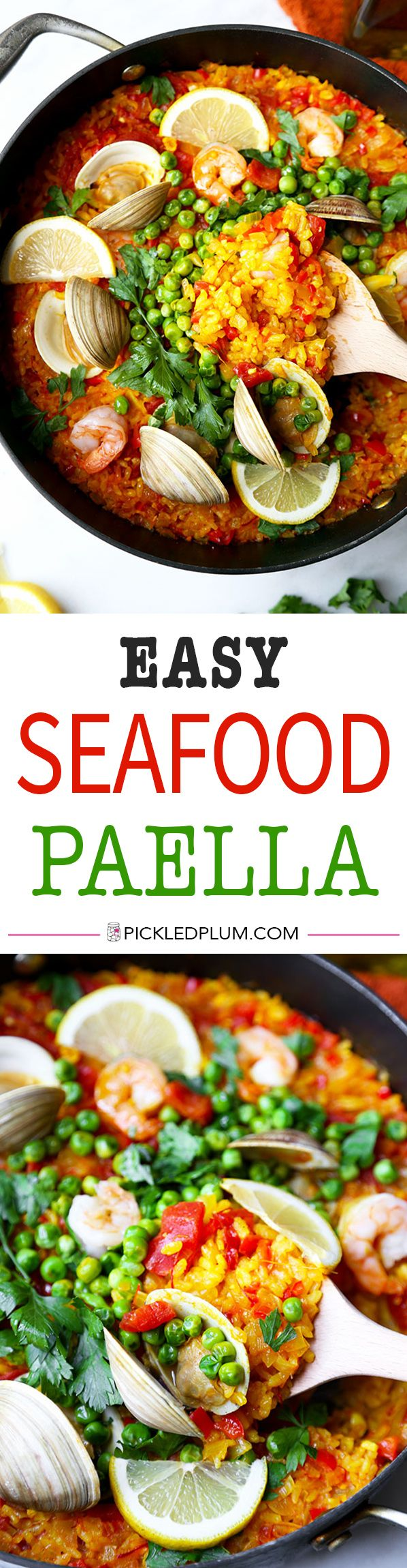 Easy Seafood Paella - A smoky and Easy Seafood Paella Recipe that looks and tastes like a sun-soaked summer on the Mediterranean in Spain! Recipe, seafood, rice, main, dinner | pickledplum.com
