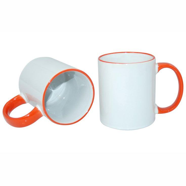 11oz Rim Handle Mug-Orange