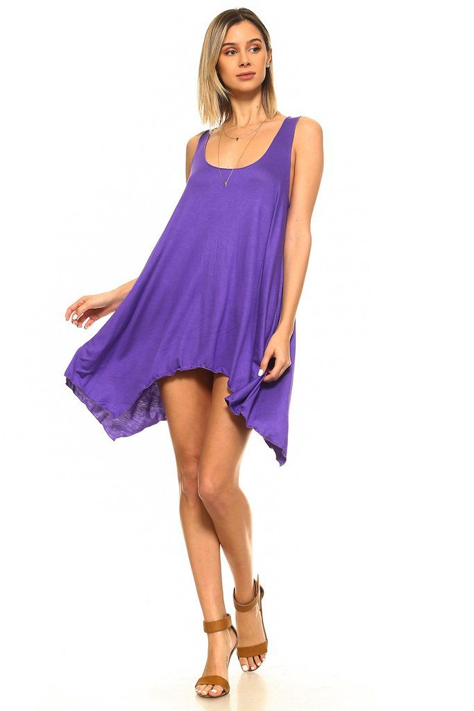 f8a84ea2e1b Purple Sleeveless Handkerchief Swing Tunic | Dresses #MadeinUSA | Swing  dress, Dresses, Tunic pattern