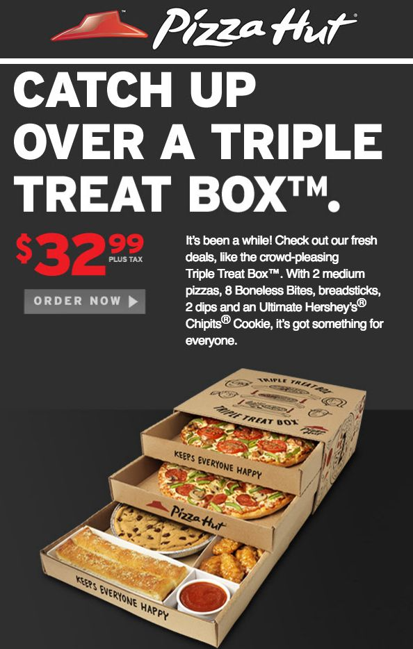 Pizza Hut Canada Offers: Get The Triple Treat Box For Only $32.99 & Pizza of the Day for $10 http://www.lavahotdeals.com/ca/cheap/pizza-hut-canada-offers-triple-treat-box-32/112841