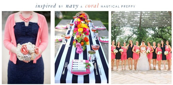 Navy and Coral Nautical Preppy Wedding Look from @Yvette Buchanan for the Wedding!